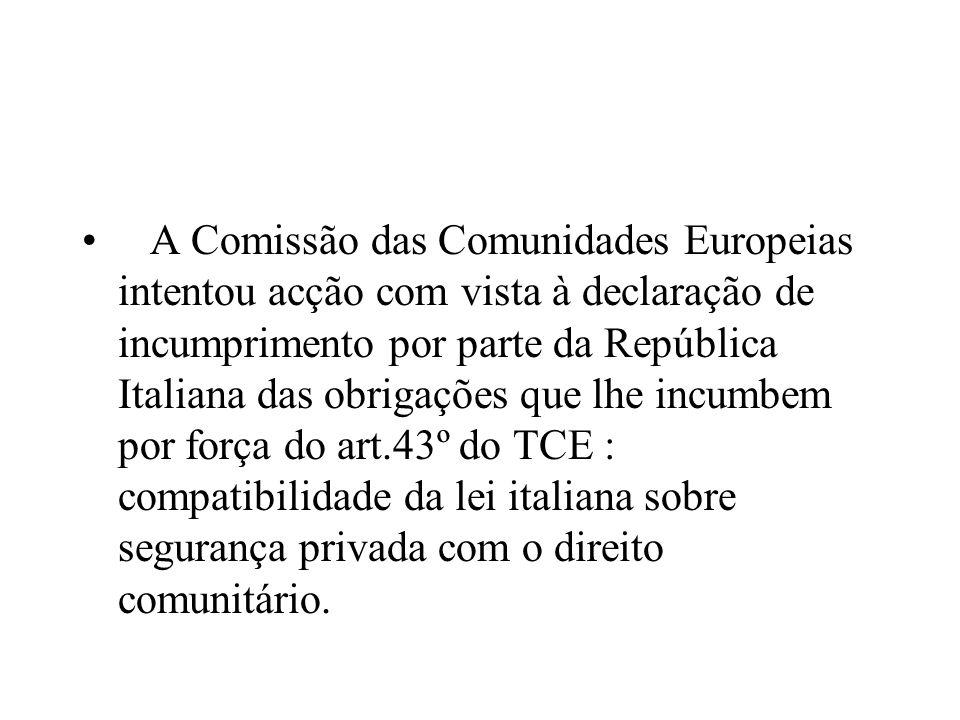 A Comissão das Comunidades Europeias intentou acção com vista à declaração de incumprimento por parte da República Italiana das obrigações que lhe inc