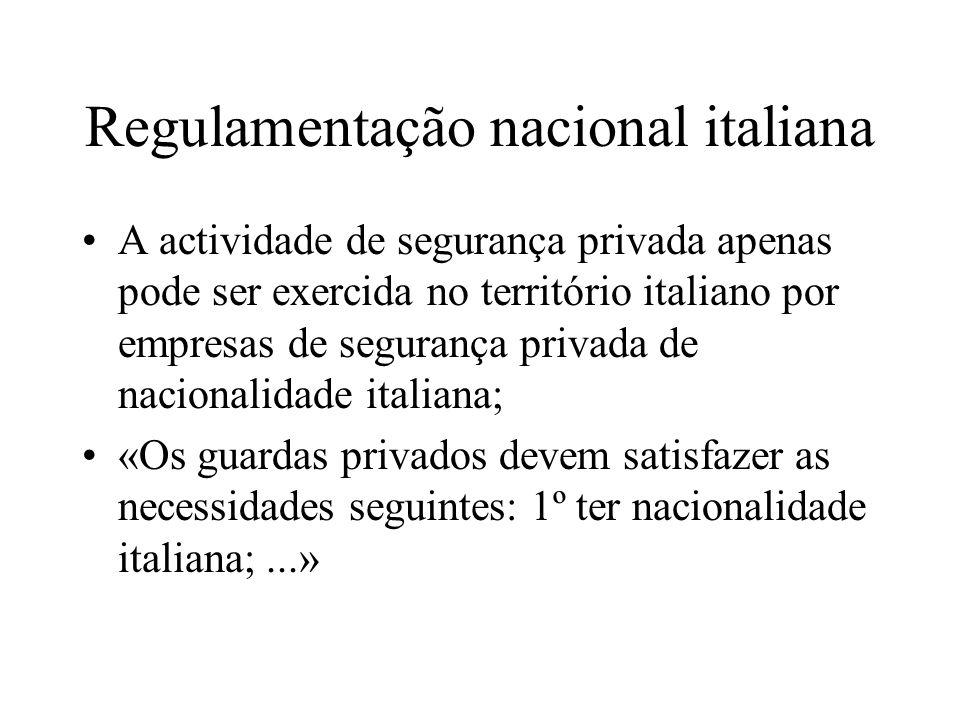 Regulamentação nacional italiana A actividade de segurança privada apenas pode ser exercida no território italiano por empresas de segurança privada d