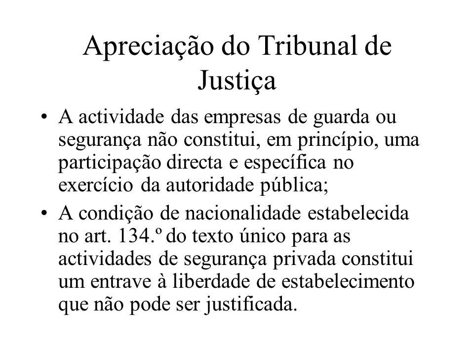 Apreciação do Tribunal de Justiça A actividade das empresas de guarda ou segurança não constitui, em princípio, uma participação directa e específica