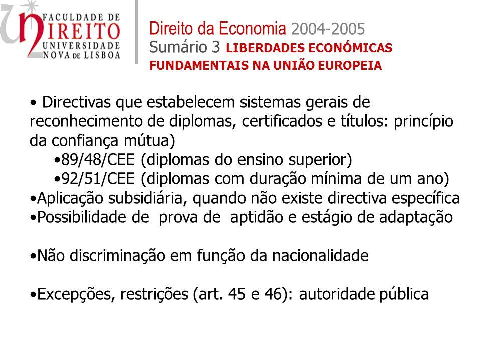 Directivas que estabelecem sistemas gerais de reconhecimento de diplomas, certificados e títulos: princípio da confiança mútua) 89/48/CEE (diplomas do