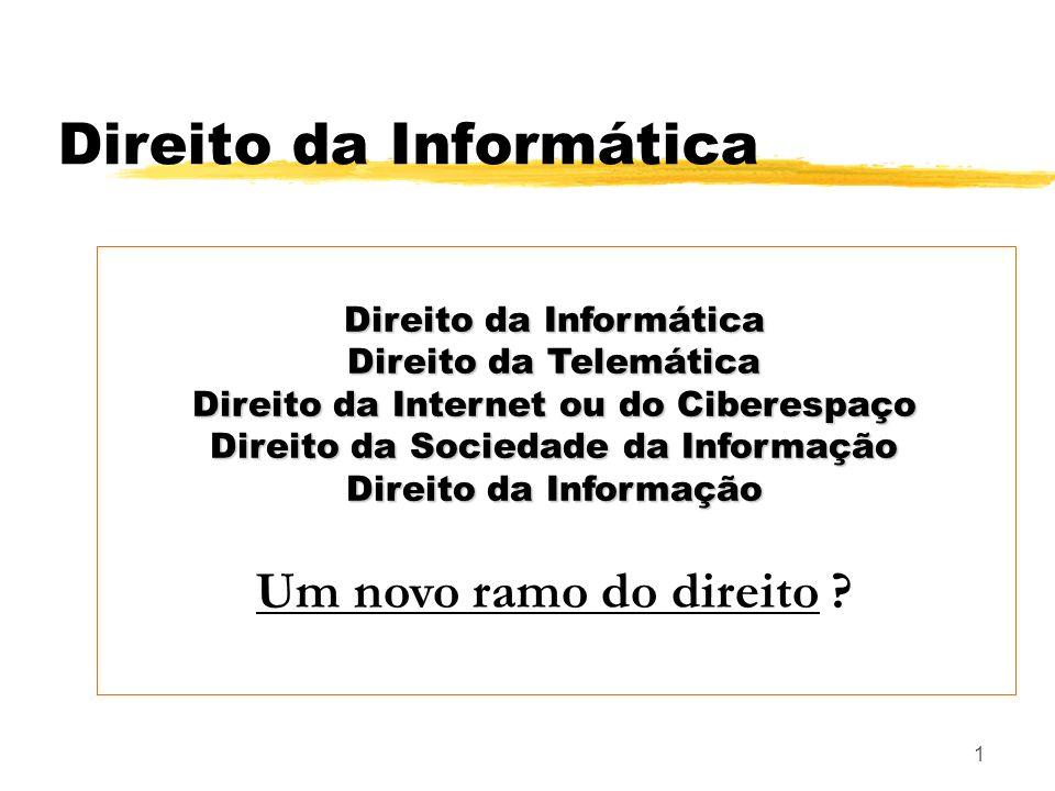 1 Direito da Informática Direito da Telemática Direito da Internet ou do Ciberespaço Direito da Sociedade da Informação Direito da Informação Um novo