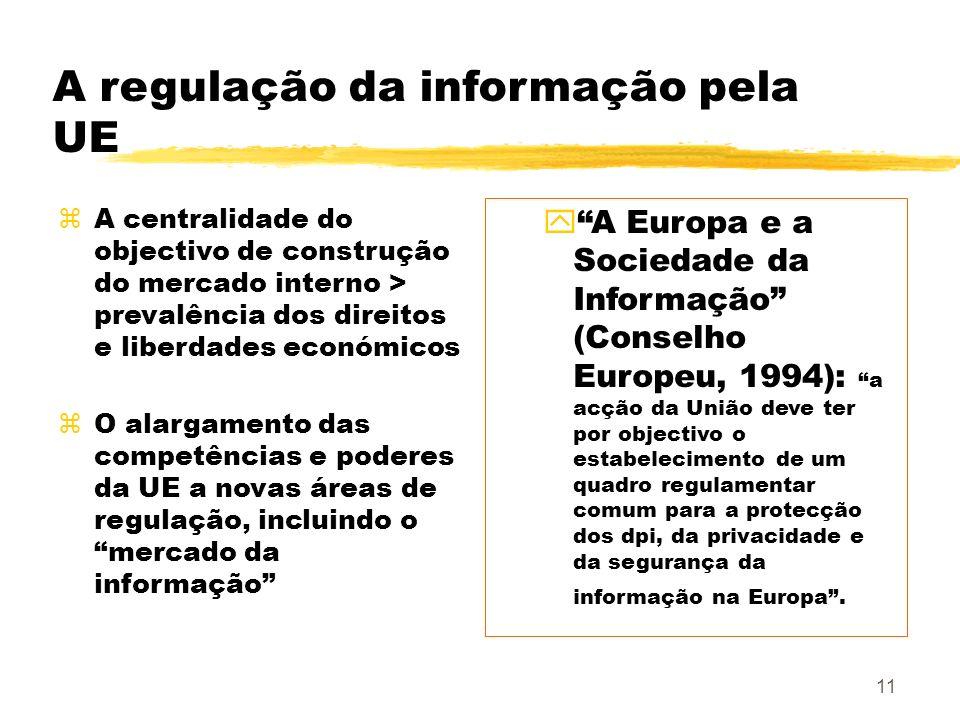 11 A regulação da informação pela UE zA centralidade do objectivo de construção do mercado interno > prevalência dos direitos e liberdades económicos