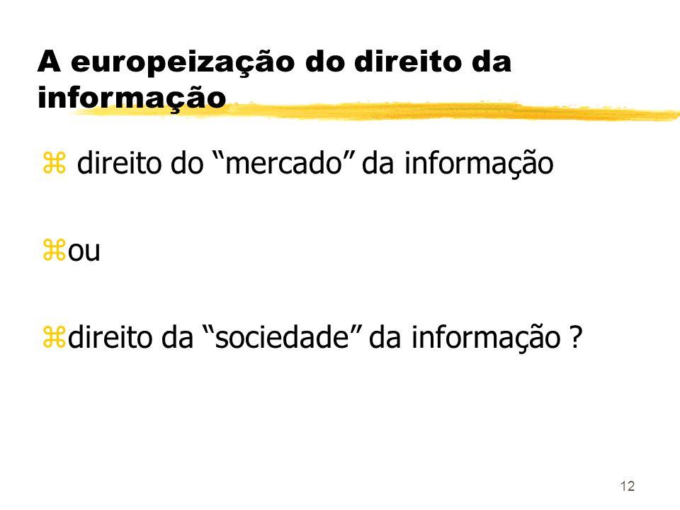 12 A europeização do direito da informação z direito do mercado da informação zou zdireito da sociedade da informação ?