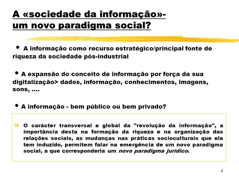 4 A «sociedade da informação»- um novo paradigma social? A «sociedade da informação»- um novo paradigma social? A informação como recurso estratégico/