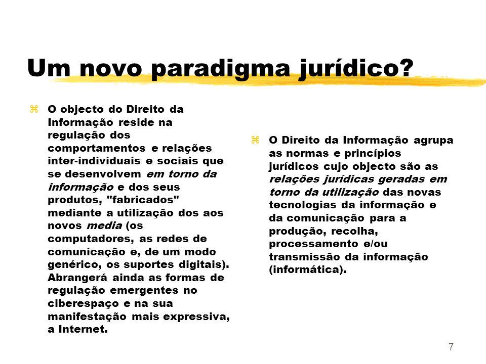 7 Um novo paradigma jurídico? zO objecto do Direito da Informação reside na regulação dos comportamentos e relações inter-individuais e sociais que se