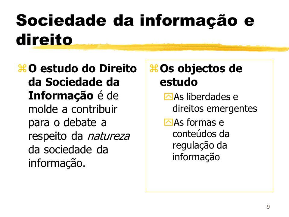 9 Sociedade da informação e direito zO estudo do Direito da Sociedade da Informação é de molde a contribuir para o debate a respeito da natureza da so