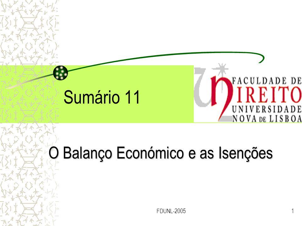 FDUNL-20051 Sumário 11 O Balanço Económico e as Isenções