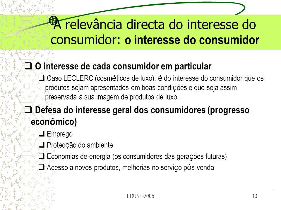 FDUNL-200510 A relevância directa do interesse do consumidor: o interesse do consumidor O interesse de cada consumidor em particular Caso LECLERC (cos