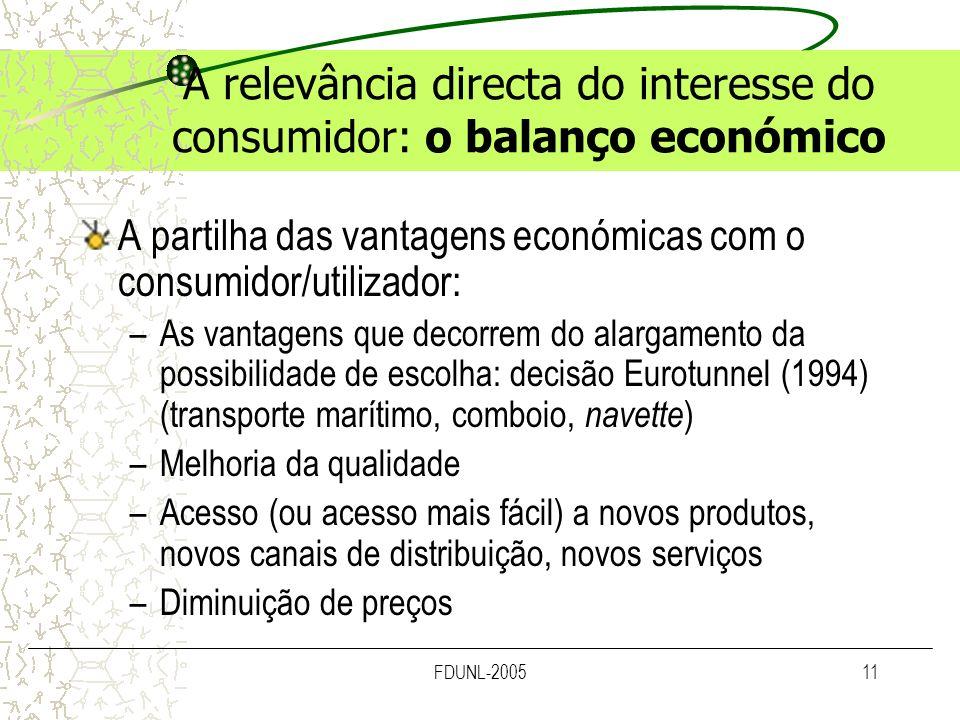 FDUNL-200511 A relevância directa do interesse do consumidor: o balanço económico A partilha das vantagens económicas com o consumidor/utilizador: –As