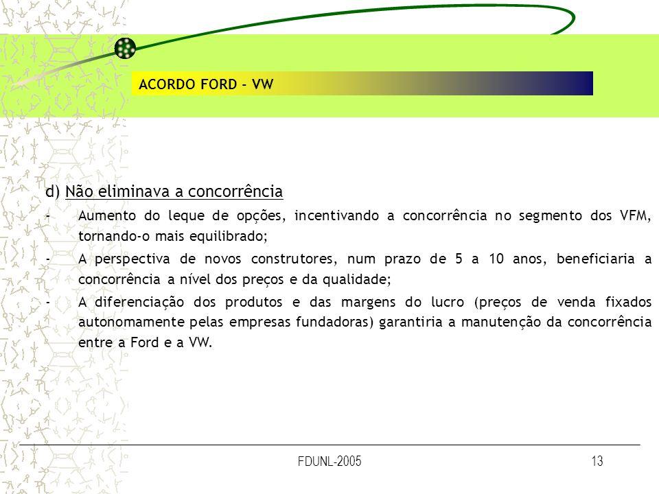 FDUNL-200513 ACORDO FORD - VW d) Não eliminava a concorrência -Aumento do leque de opções, incentivando a concorrência no segmento dos VFM, tornando-o