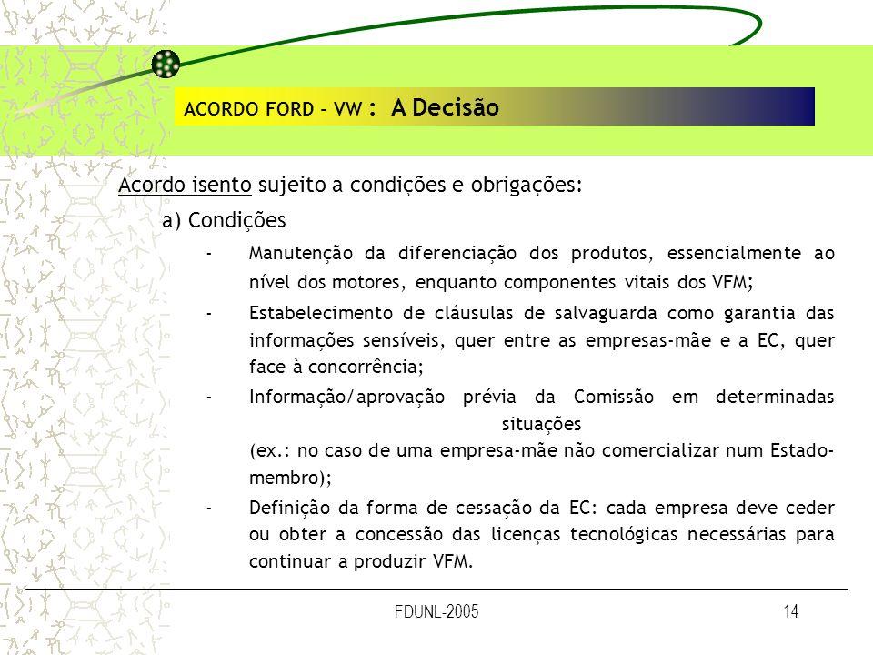 FDUNL-200514 ACORDO FORD - VW : A Decisão Acordo isento sujeito a condições e obrigações: a) Condições -Manutenção da diferenciação dos produtos, esse