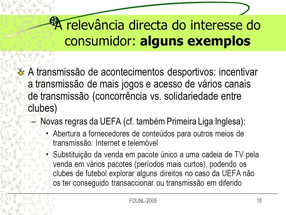 FDUNL-200515 A relevância directa do interesse do consumidor: alguns exemplos A transmissão de acontecimentos desportivos: incentivar a transmissão de