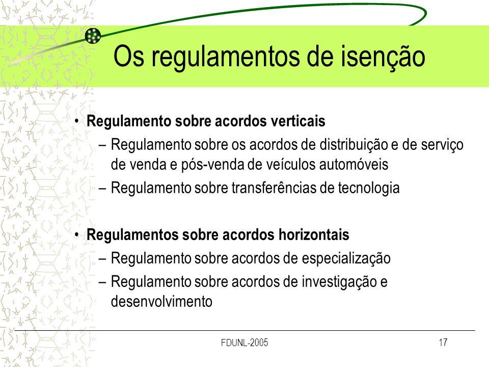 FDUNL-200517 Os regulamentos de isenção Regulamento sobre acordos verticais –Regulamento sobre os acordos de distribuição e de serviço de venda e pós-