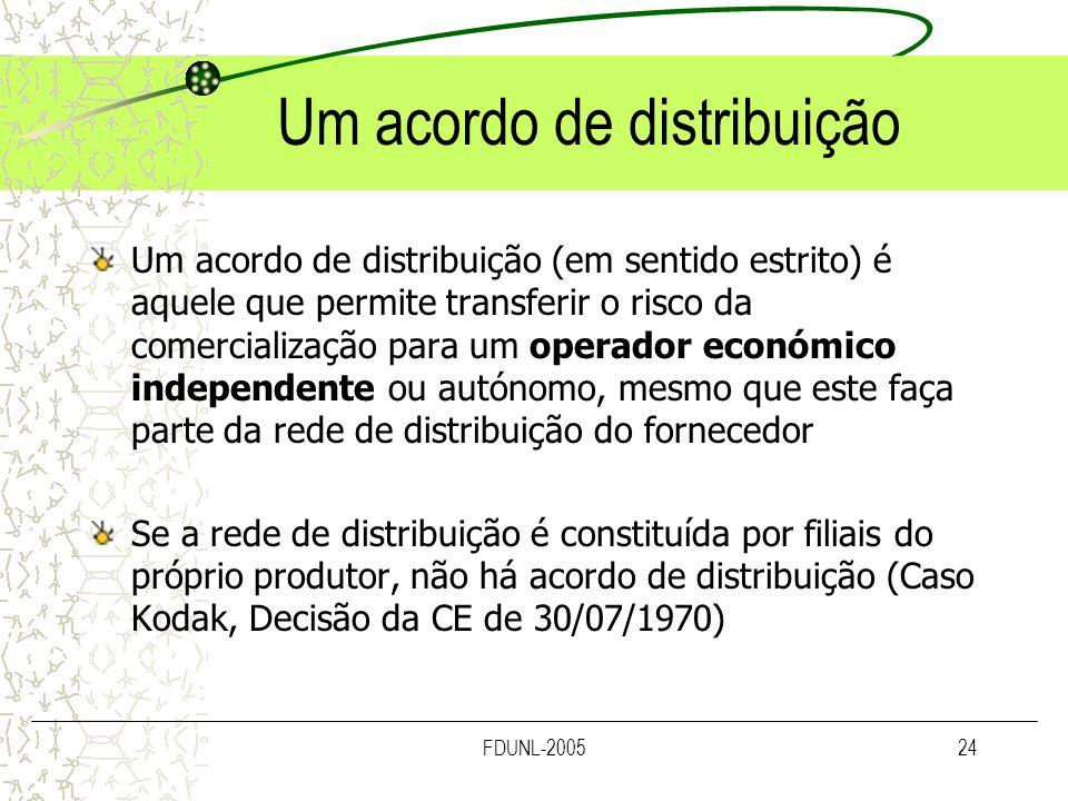 FDUNL-200524 Um acordo de distribuição Um acordo de distribuição (em sentido estrito) é aquele que permite transferir o risco da comercialização para