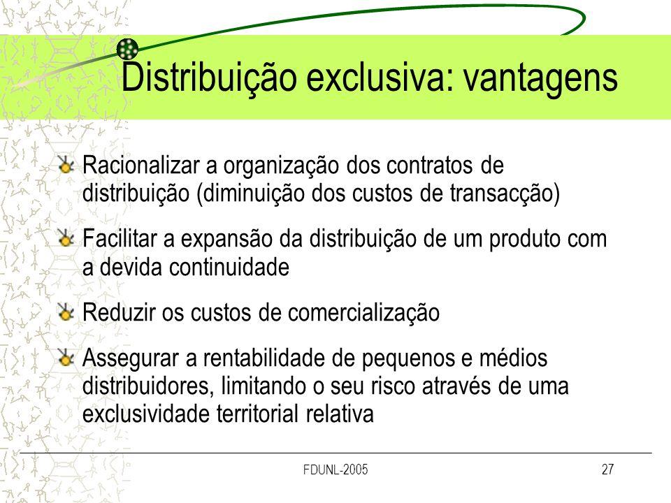 FDUNL-200527 Distribuição exclusiva: vantagens Racionalizar a organização dos contratos de distribuição (diminuição dos custos de transacção) Facilita