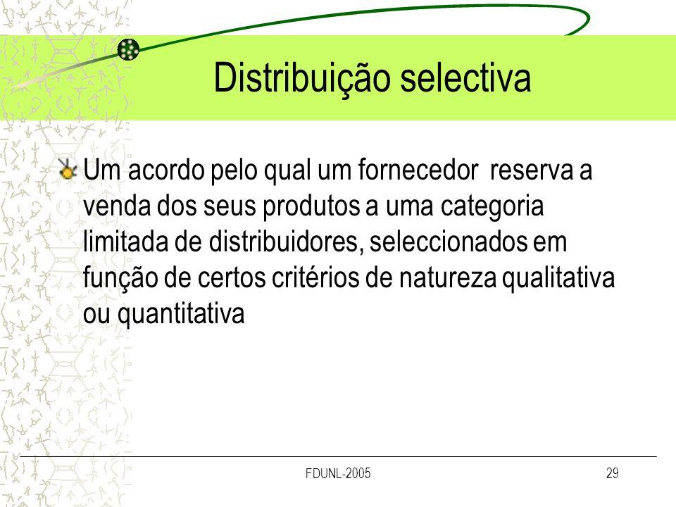 FDUNL-200529 Distribuição selectiva Um acordo pelo qual um fornecedor reserva a venda dos seus produtos a uma categoria limitada de distribuidores, se