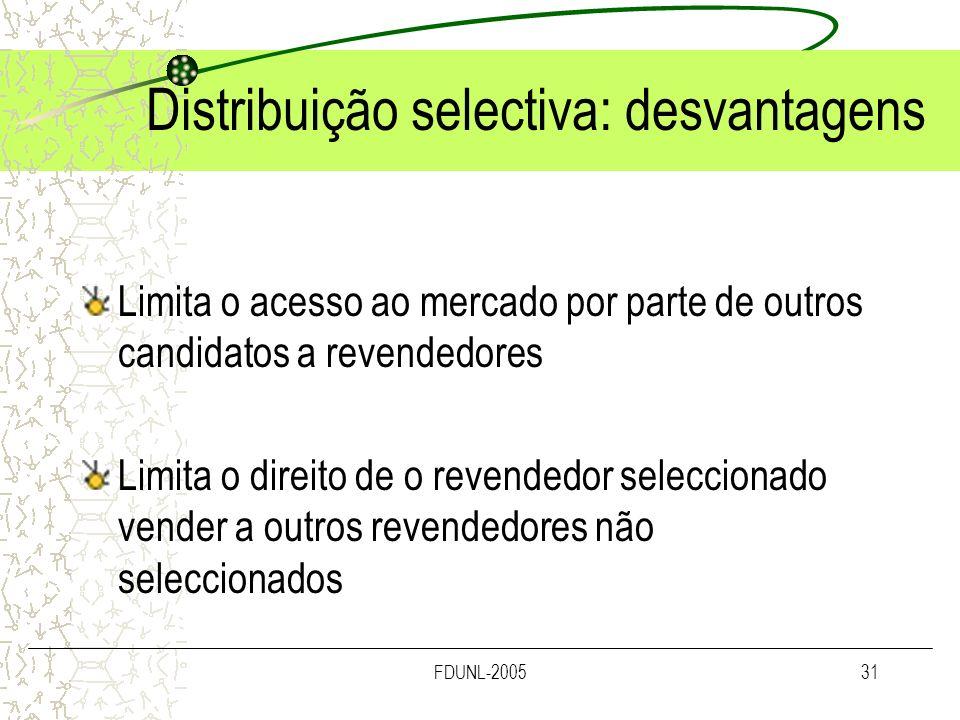 FDUNL-200531 Distribuição selectiva: desvantagens Limita o acesso ao mercado por parte de outros candidatos a revendedores Limita o direito de o reven