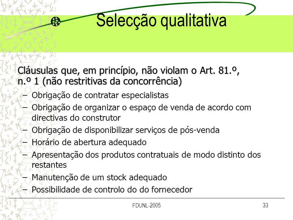 FDUNL-200533 Selecção qualitativa –Obrigação de contratar especialistas –Obrigação de organizar o espaço de venda de acordo com directivas do construt