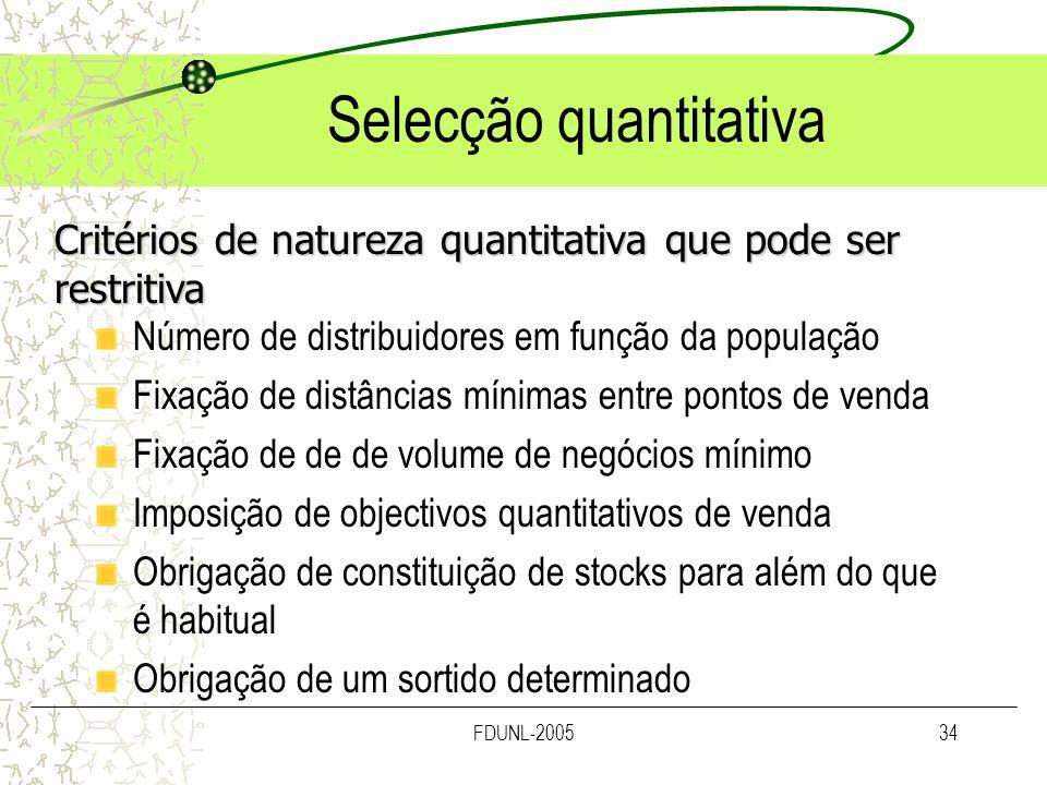FDUNL-200534 Selecção quantitativa Número de distribuidores em função da população Fixação de distâncias mínimas entre pontos de venda Fixação de de d