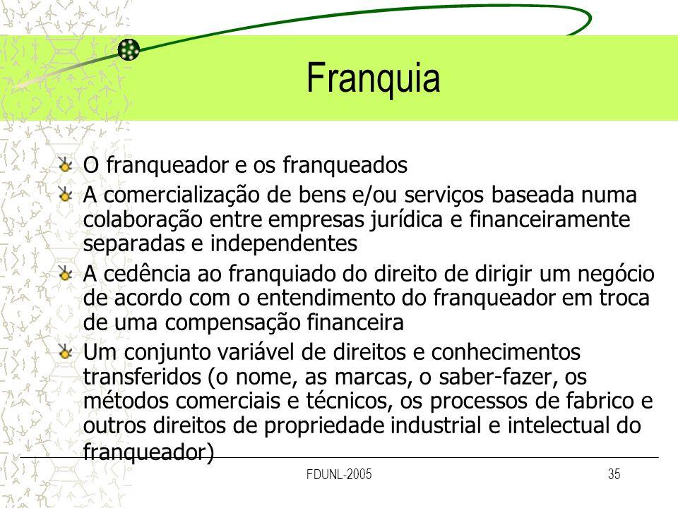 FDUNL-200535 Franquia O franqueador e os franqueados A comercialização de bens e/ou serviços baseada numa colaboração entre empresas jurídica e financ