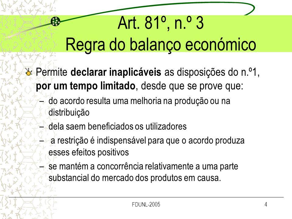 FDUNL-20054 Art. 81º, n.º 3 Regra do balanço económico Permite declarar inaplicáveis as disposições do n.º1, por um tempo limitado, desde que se prove