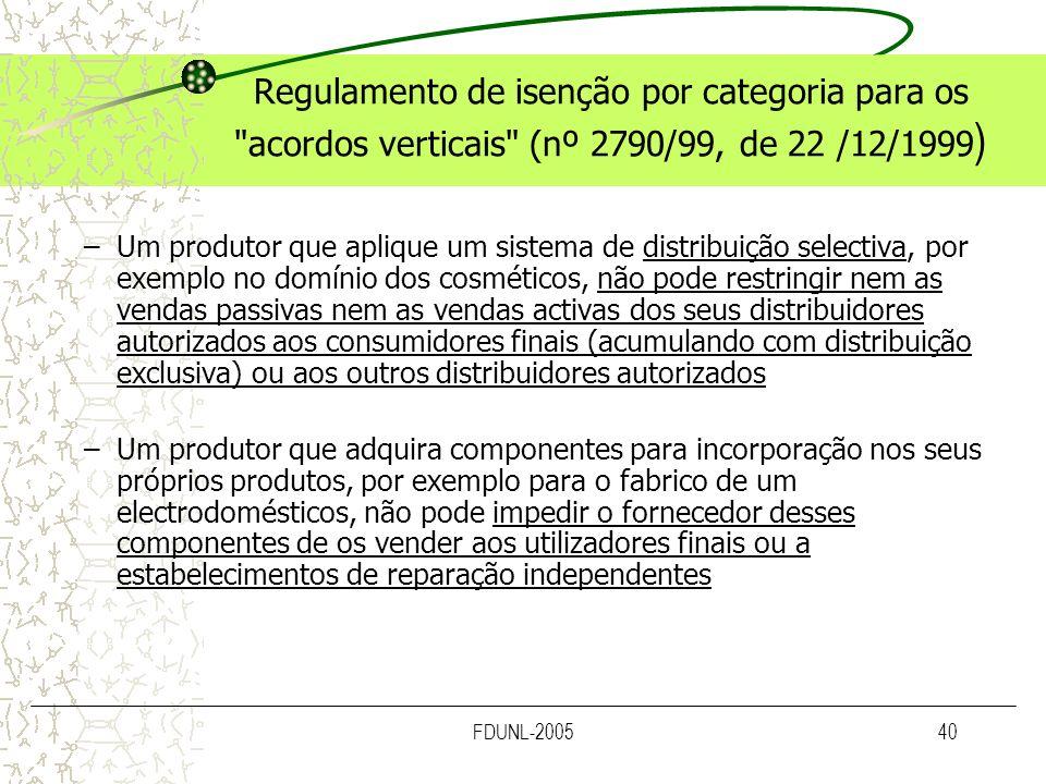 FDUNL-200540 Regulamento de isenção por categoria para os