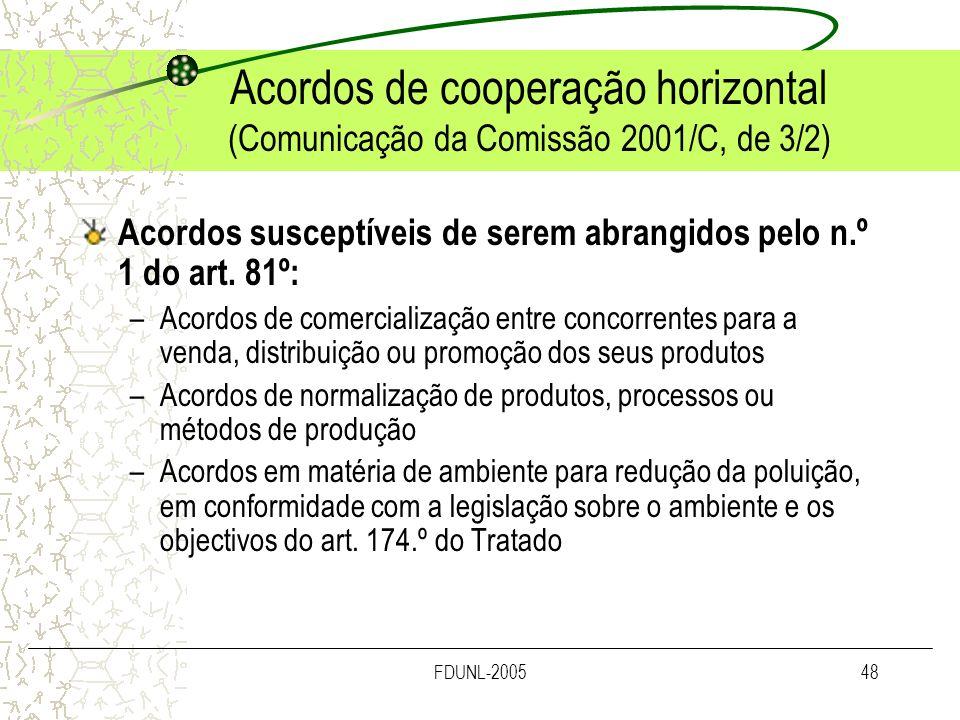 FDUNL-200548 Acordos de cooperação horizontal (Comunicação da Comissão 2001/C, de 3/2) Acordos susceptíveis de serem abrangidos pelo n.º 1 do art. 81º