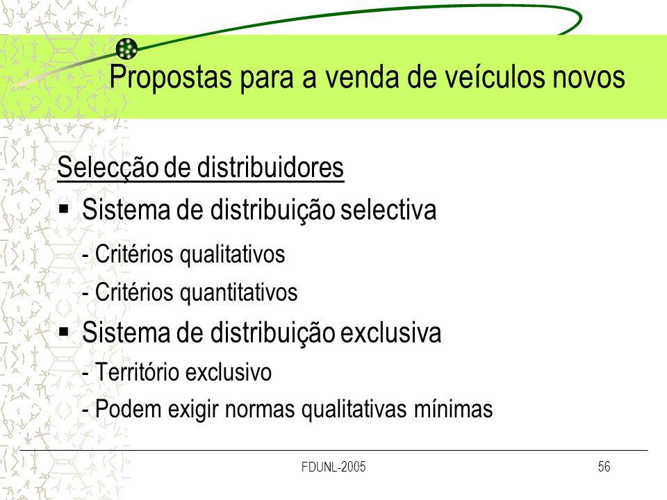 FDUNL-200556 Propostas para a venda de veículos novos Selecção de distribuidores Sistema de distribuição selectiva - Critérios qualitativos - Critério