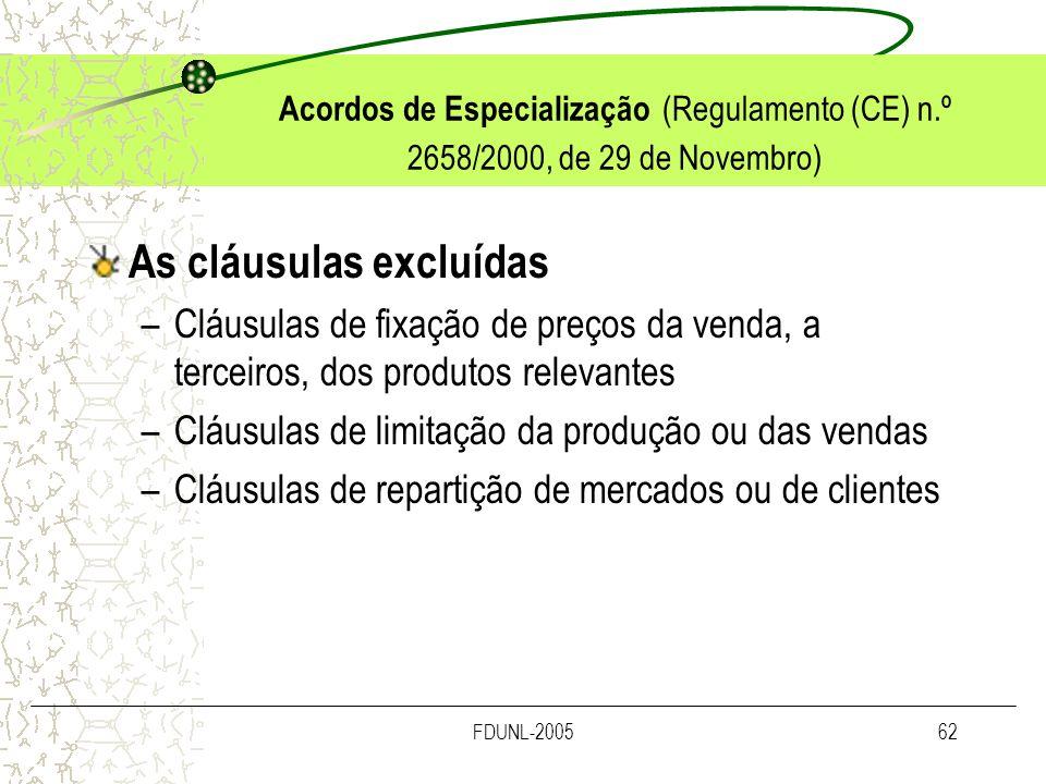 FDUNL-200562 Acordos de Especialização (Regulamento (CE) n.º 2658/2000, de 29 de Novembro) As cláusulas excluídas –Cláusulas de fixação de preços da v