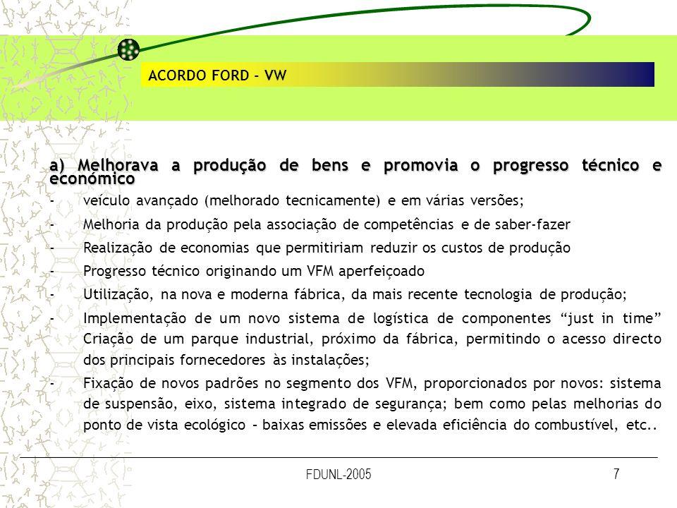 FDUNL-20057 ACORDO FORD - VW a) Melhorava a produção de bens e promovia o progresso técnico e económico -veículo avançado (melhorado tecnicamente) e e