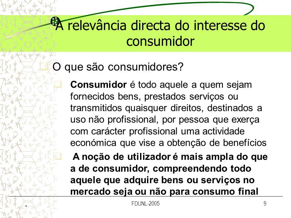 FDUNL-20059 A relevância directa do interesse do consumidor O que são consumidores? Consumidor é todo aquele a quem sejam fornecidos bens, prestados s