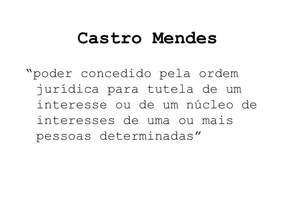 Castro Mendes poder concedido pela ordem jurídica para tutela de um interesse ou de um núcleo de interesses de uma ou mais pessoas determinadas