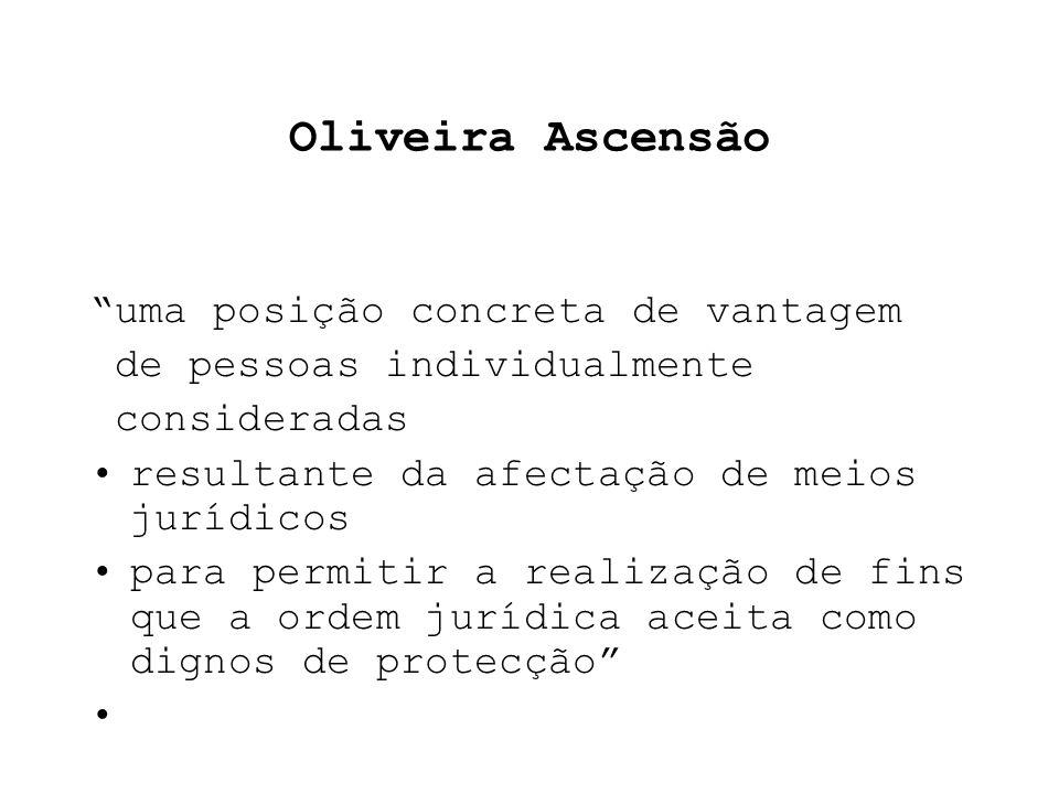 Oliveira Ascensão uma posição concreta de vantagem de pessoas individualmente consideradas resultante da afectação de meios jurídicos para permitir a realização de fins que a ordem jurídica aceita como dignos de protecção