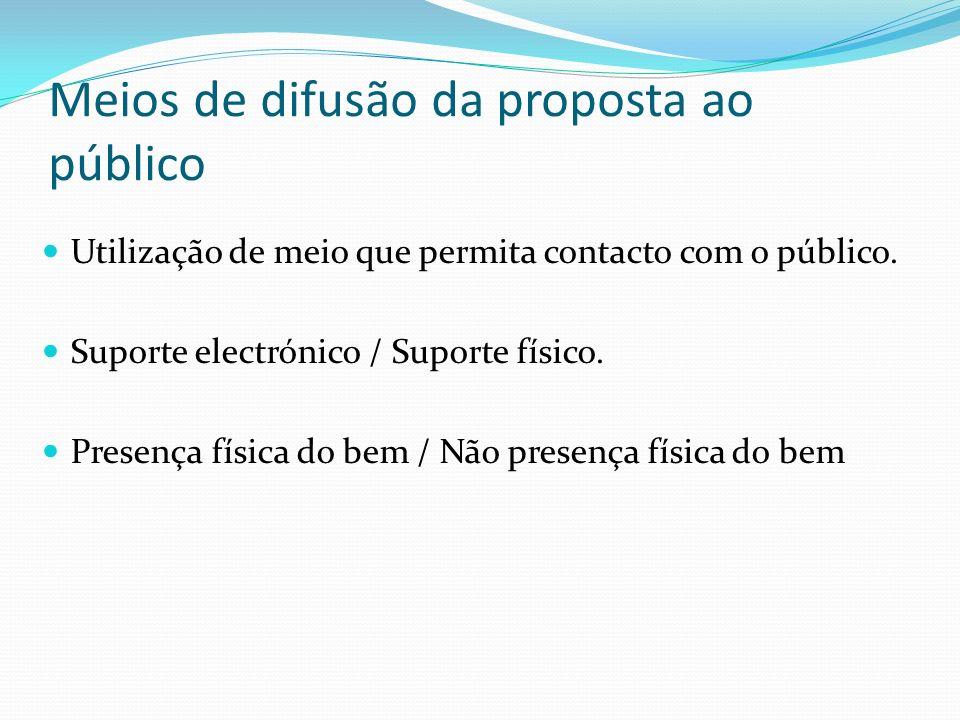 Meios de difusão da proposta ao público Utilização de meio que permita contacto com o público. Suporte electrónico / Suporte físico. Presença física d