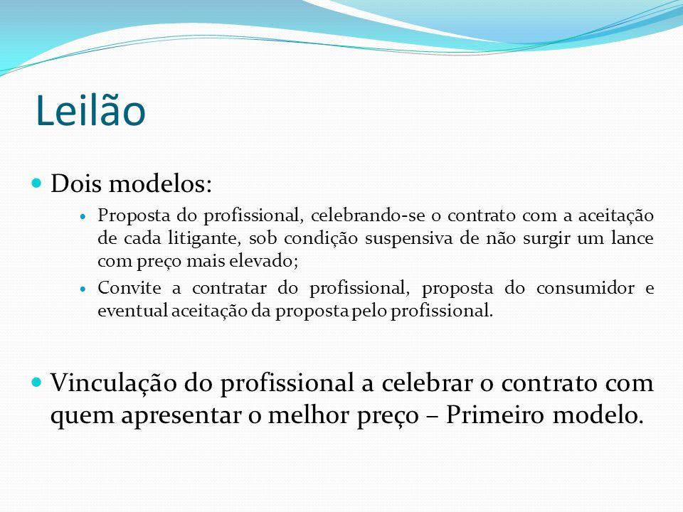 Leilão Dois modelos: Proposta do profissional, celebrando-se o contrato com a aceitação de cada litigante, sob condição suspensiva de não surgir um lance com preço mais elevado; Convite a contratar do profissional, proposta do consumidor e eventual aceitação da proposta pelo profissional.