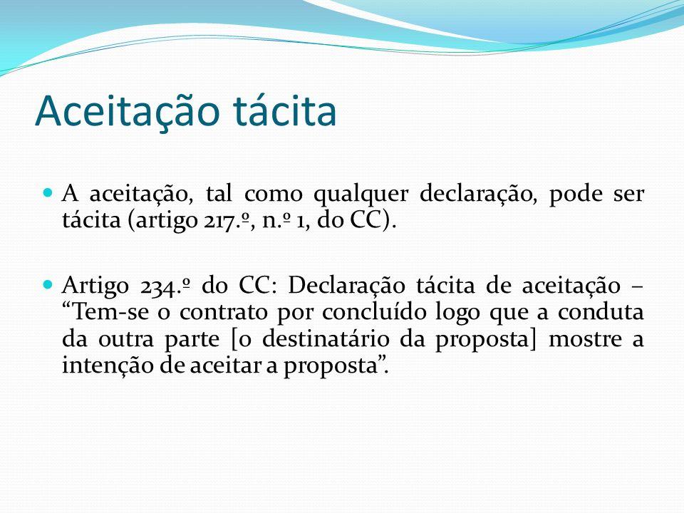 Aceitação tácita A aceitação, tal como qualquer declaração, pode ser tácita (artigo 217.º, n.º 1, do CC). Artigo 234.º do CC: Declaração tácita de ace