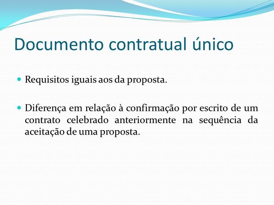 Documento contratual único Requisitos iguais aos da proposta. Diferença em relação à confirmação por escrito de um contrato celebrado anteriormente na