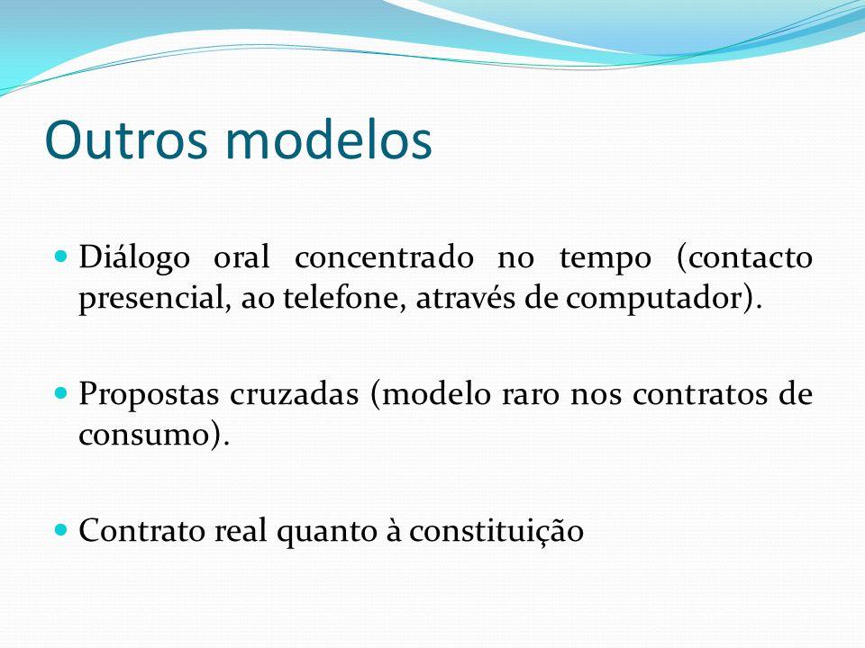 Outros modelos Diálogo oral concentrado no tempo (contacto presencial, ao telefone, através de computador). Propostas cruzadas (modelo raro nos contra