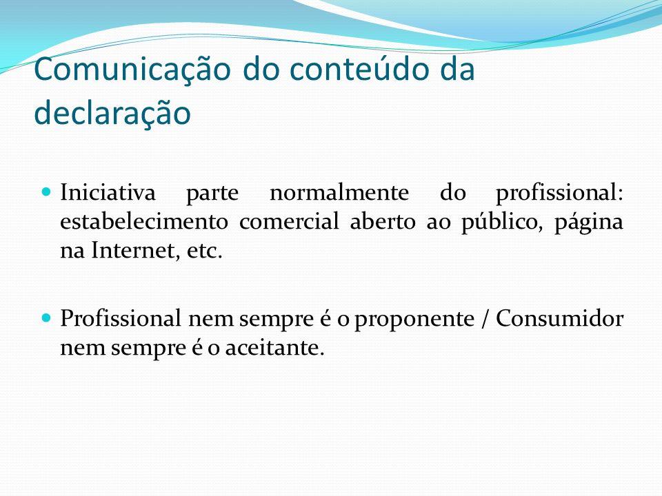 Comunicação do conteúdo da declaração Iniciativa parte normalmente do profissional: estabelecimento comercial aberto ao público, página na Internet, e