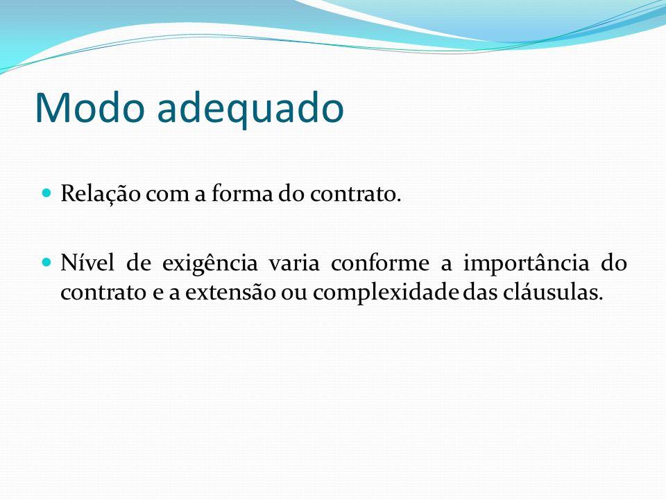 Modo adequado Relação com a forma do contrato. Nível de exigência varia conforme a importância do contrato e a extensão ou complexidade das cláusulas.