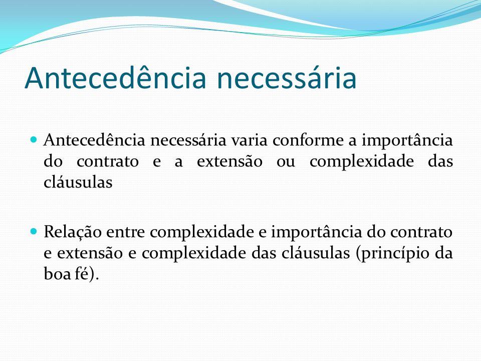 Antecedência necessária Antecedência necessária varia conforme a importância do contrato e a extensão ou complexidade das cláusulas Relação entre complexidade e importância do contrato e extensão e complexidade das cláusulas (princípio da boa fé).