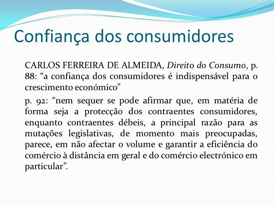 Confiança dos consumidores CARLOS FERREIRA DE ALMEIDA, Direito do Consumo, p.