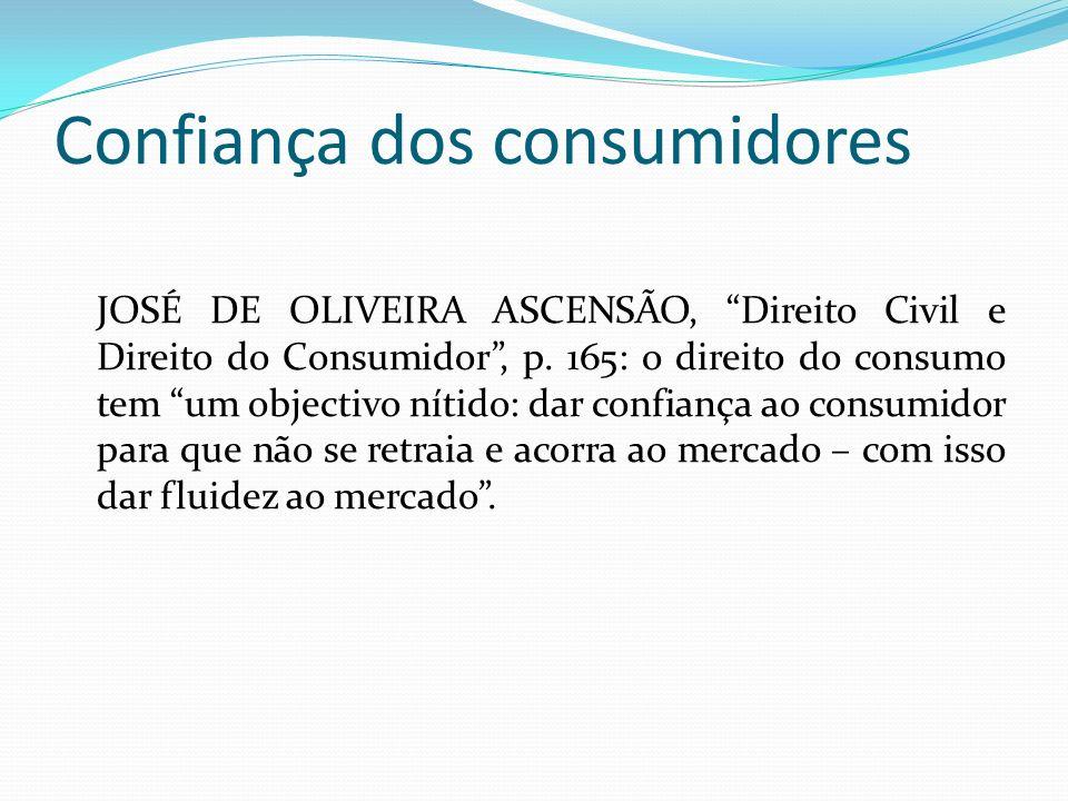 Confiança dos consumidores JOSÉ DE OLIVEIRA ASCENSÃO, Direito Civil e Direito do Consumidor, p.