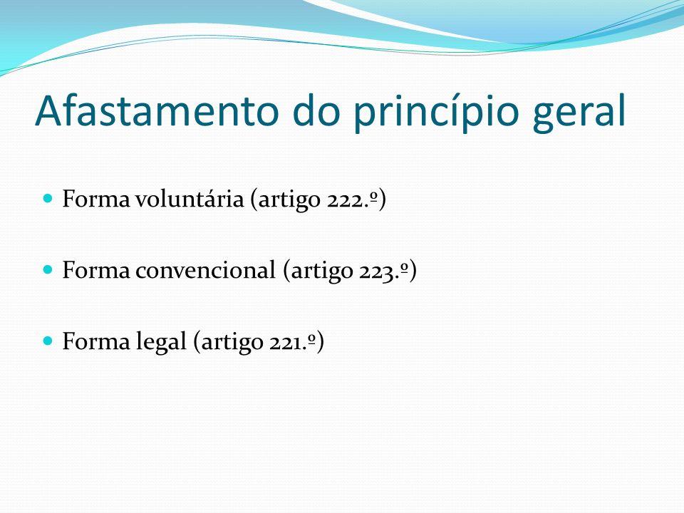 Afastamento do princípio geral Forma voluntária (artigo 222.º) Forma convencional (artigo 223.º) Forma legal (artigo 221.º)