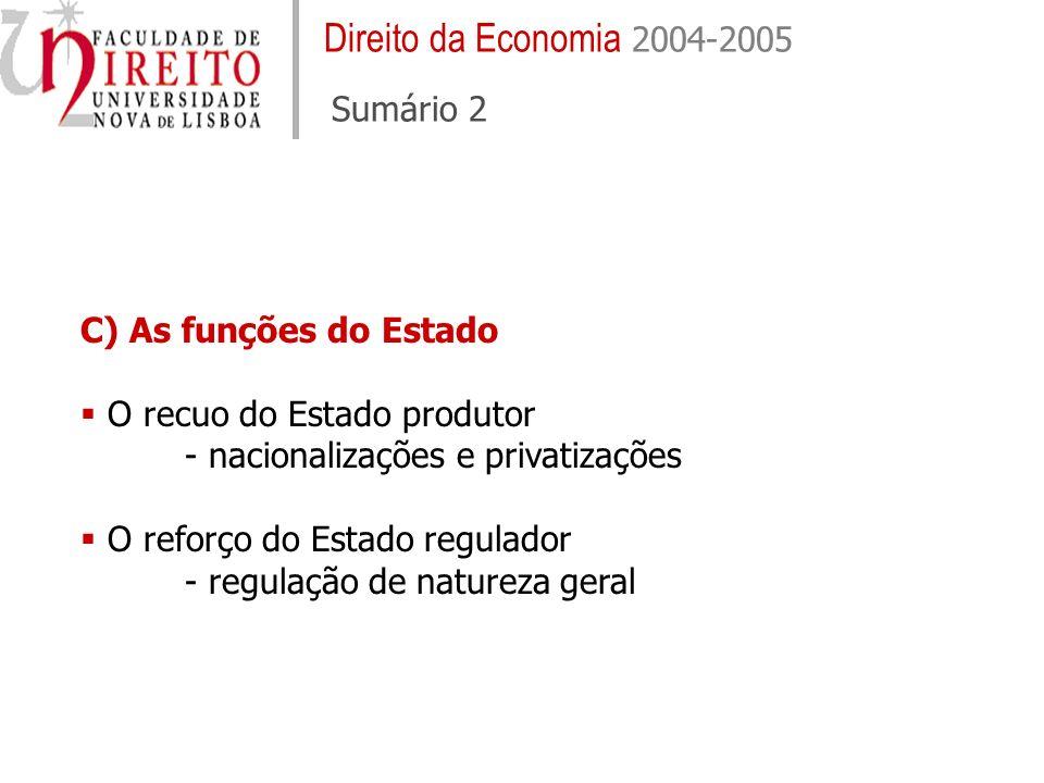 Direito da Economia 2004-2005 Sumário 2 C) As funções do Estado O recuo do Estado produtor - nacionalizações e privatizações O reforço do Estado regulador - regulação de natureza geral
