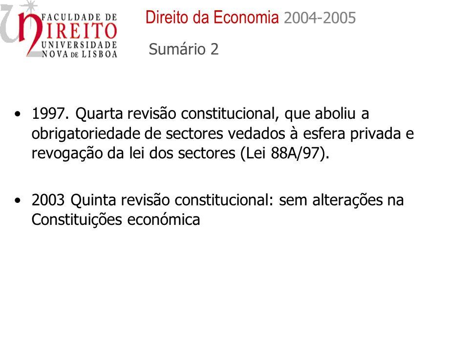 1997. Quarta revisão constitucional, que aboliu a obrigatoriedade de sectores vedados à esfera privada e revogação da lei dos sectores (Lei 88A/97). 2