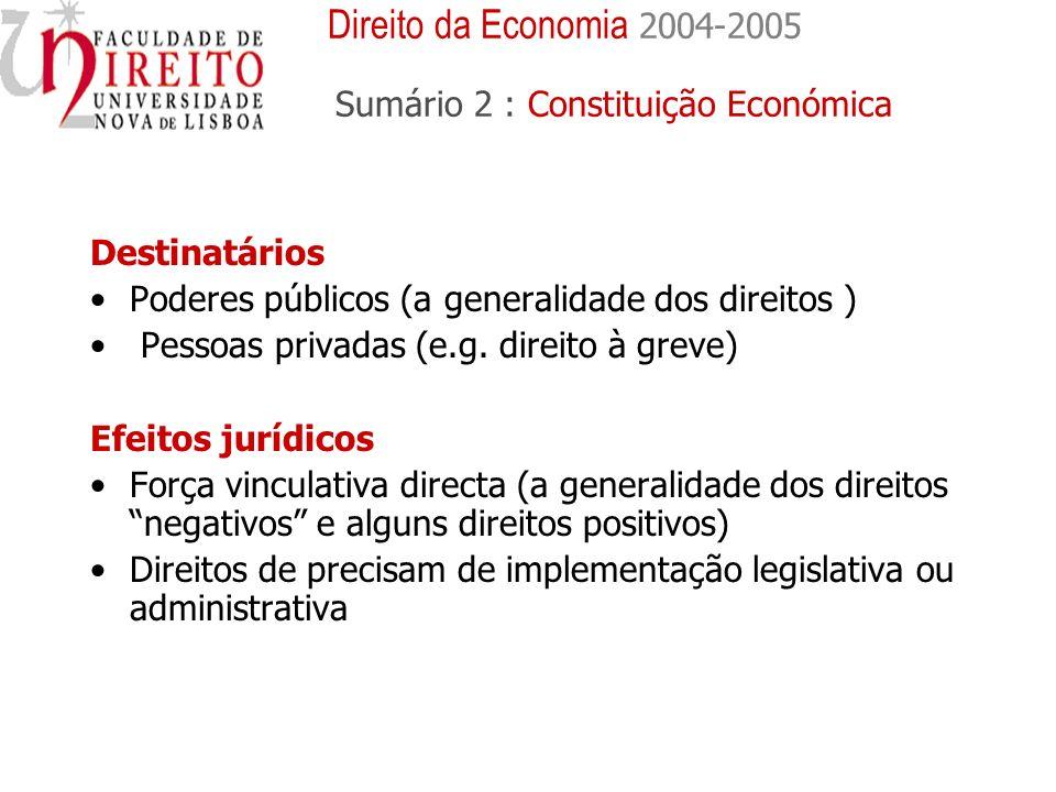 Destinatários Poderes públicos (a generalidade dos direitos ) Pessoas privadas (e.g. direito à greve) Efeitos jurídicos Força vinculativa directa (a g