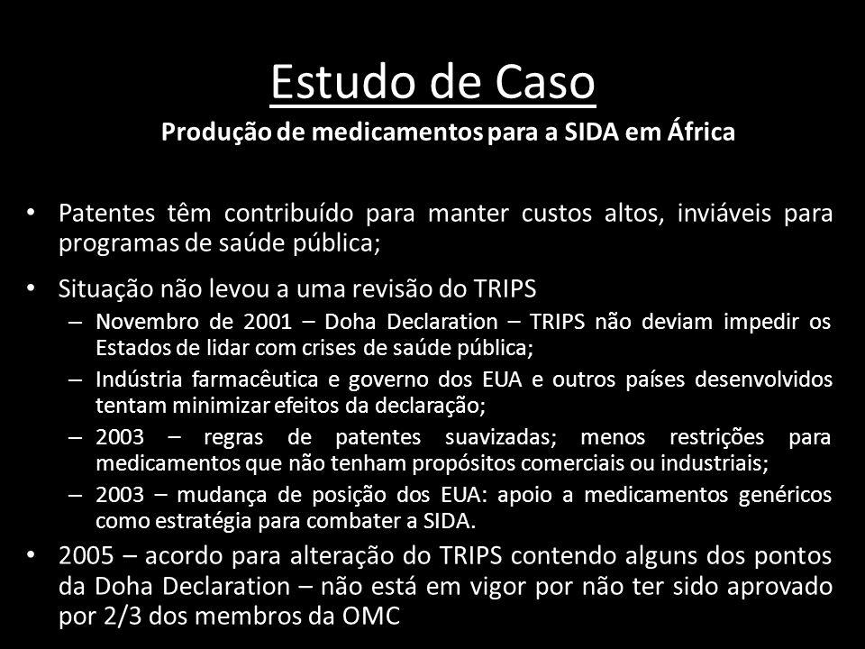 Estudo de Caso Produção de medicamentos para a SIDA em África Patentes têm contribuído para manter custos altos, inviáveis para programas de saúde púb