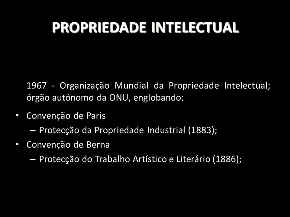 PROPRIEDADE INTELECTUAL 1967 - Organização Mundial da Propriedade Intelectual; órgão autónomo da ONU, englobando: Convenção de Paris – Protecção da Pr