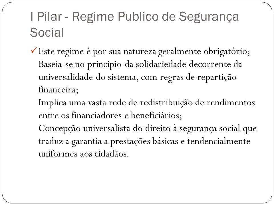I Pilar - Regime Publico de Segurança Social Este regime é por sua natureza geralmente obrigatório; Baseia-se no principio da solidariedade decorrente